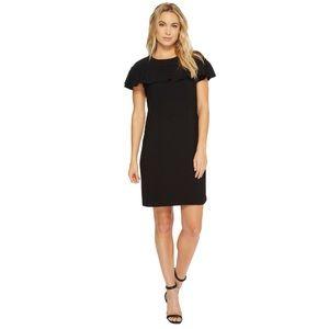 Trina Turk crepe splash ruffle black dress
